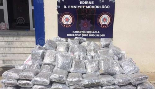 Edirne'de düzenlenen uyuşturucu operasyonunda, bir tırda 450 kilogram skunk bulundu