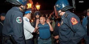 Fas'ın başkenti Rabat'ta, sözleşmeli öğretmenlerin  Oturma eyleminde Müdahale