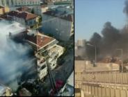 Kadıköy Fikirtepe'de 3 katlı bir binada  yangın