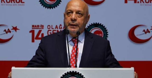 Hak-İş'in 14. Olağan Genel Kurulu'nda genel başkanlığa Arslan yeniden seçildi