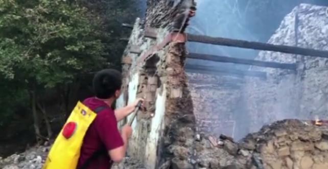 Manisa Spil Dağı Milli Parkı'nda bir ağaca yıldırım düşmesi sonucu Yangın çıktı