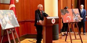 15 Temmuz Demokrasi Türkiye'nin Washington Büyükelçiliğinde yabancı ülke temsilcilerinin de yer aldığı tören düzenlendi