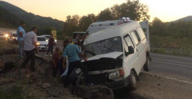 Zonguldak'ta  minibüsün yol kenarındaki hendeğe düşmesi sonucu 2'si çocuk 8 kişi yaralandı
