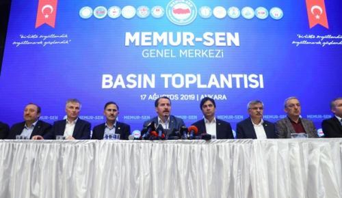 Memur-Sen Genel Başkanı Yalçın, hükümetin memurlara zam teklifiyle ilgili konuştu