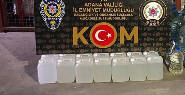 Adana'da 618 litre sahte içki ele geçirildi